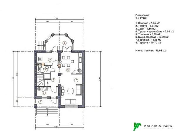 Каркасный Дом под ключ 8.5х9 м проект Эдмонтон 9